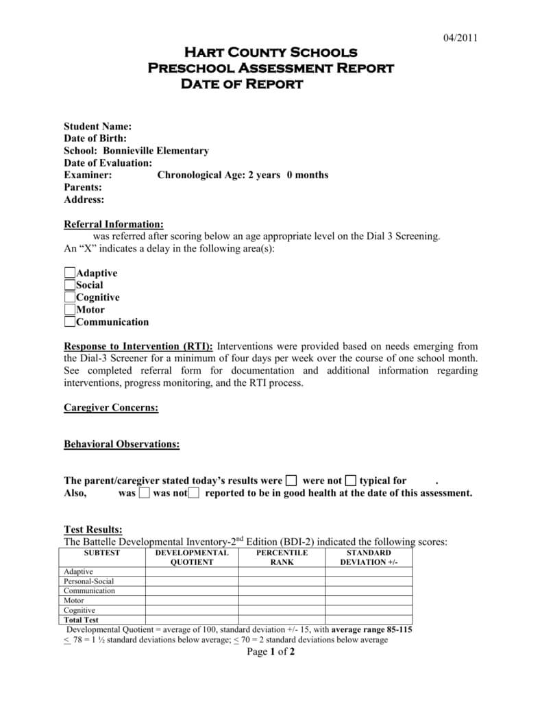 Preschool Evaluation Report Template Within Deviation Report Template