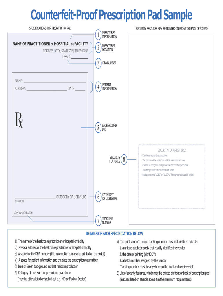 Prescription Pad Template - Fill Online, Printable, Fillable Inside Blank Prescription Form Template