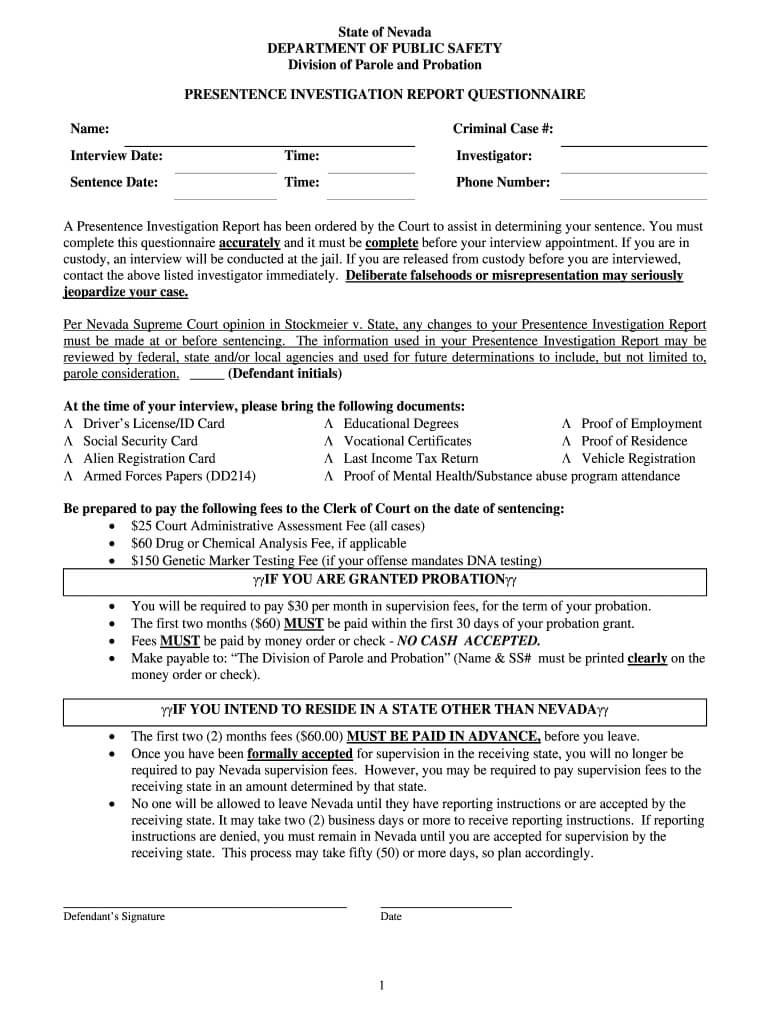 Presentence Investigation - Fill Online, Printable, Fillable Intended For Presentence Investigation Report Template