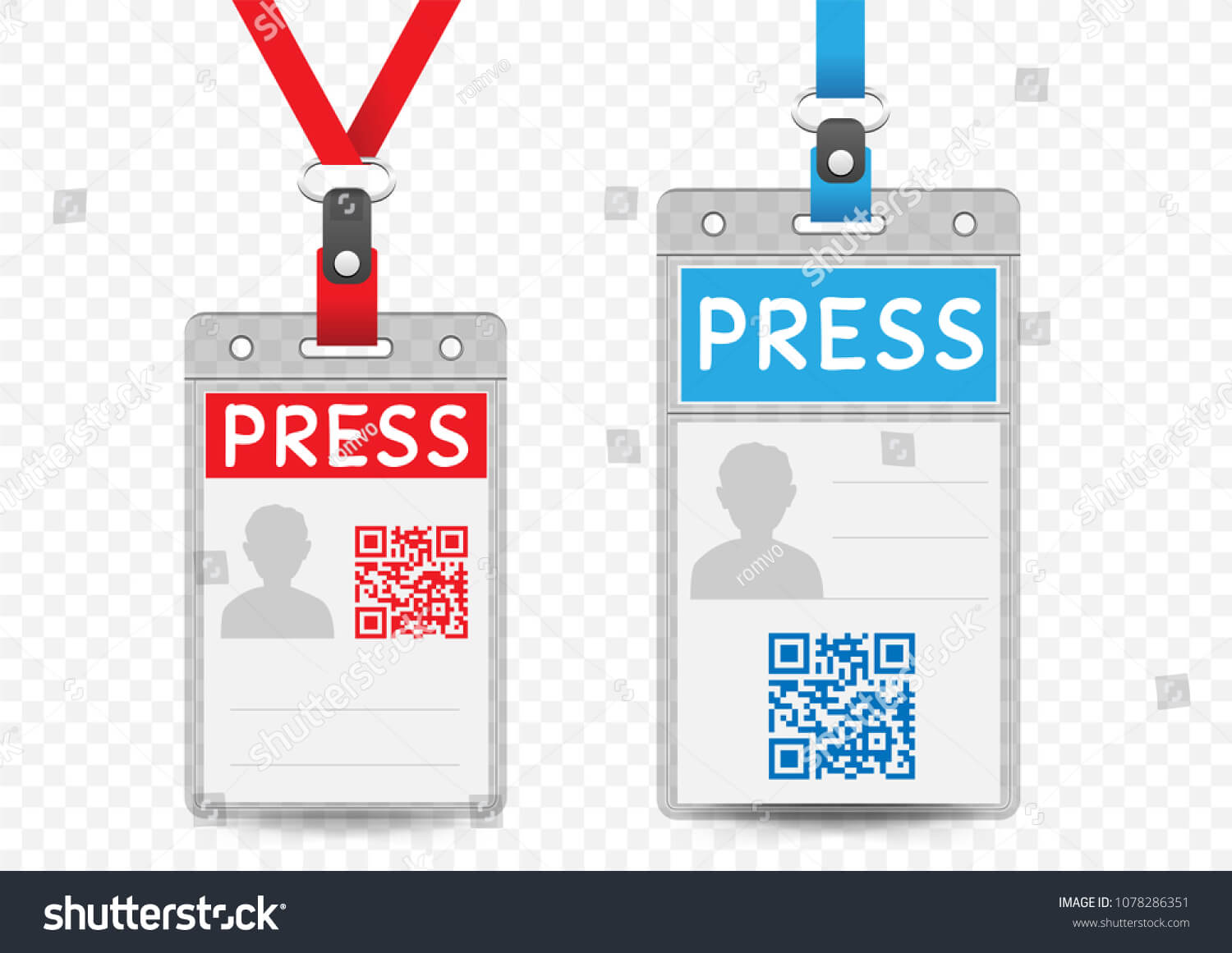 Press Journalist Vertical Badge Empty Template Stock Vector Pertaining To Media Id Card Templates