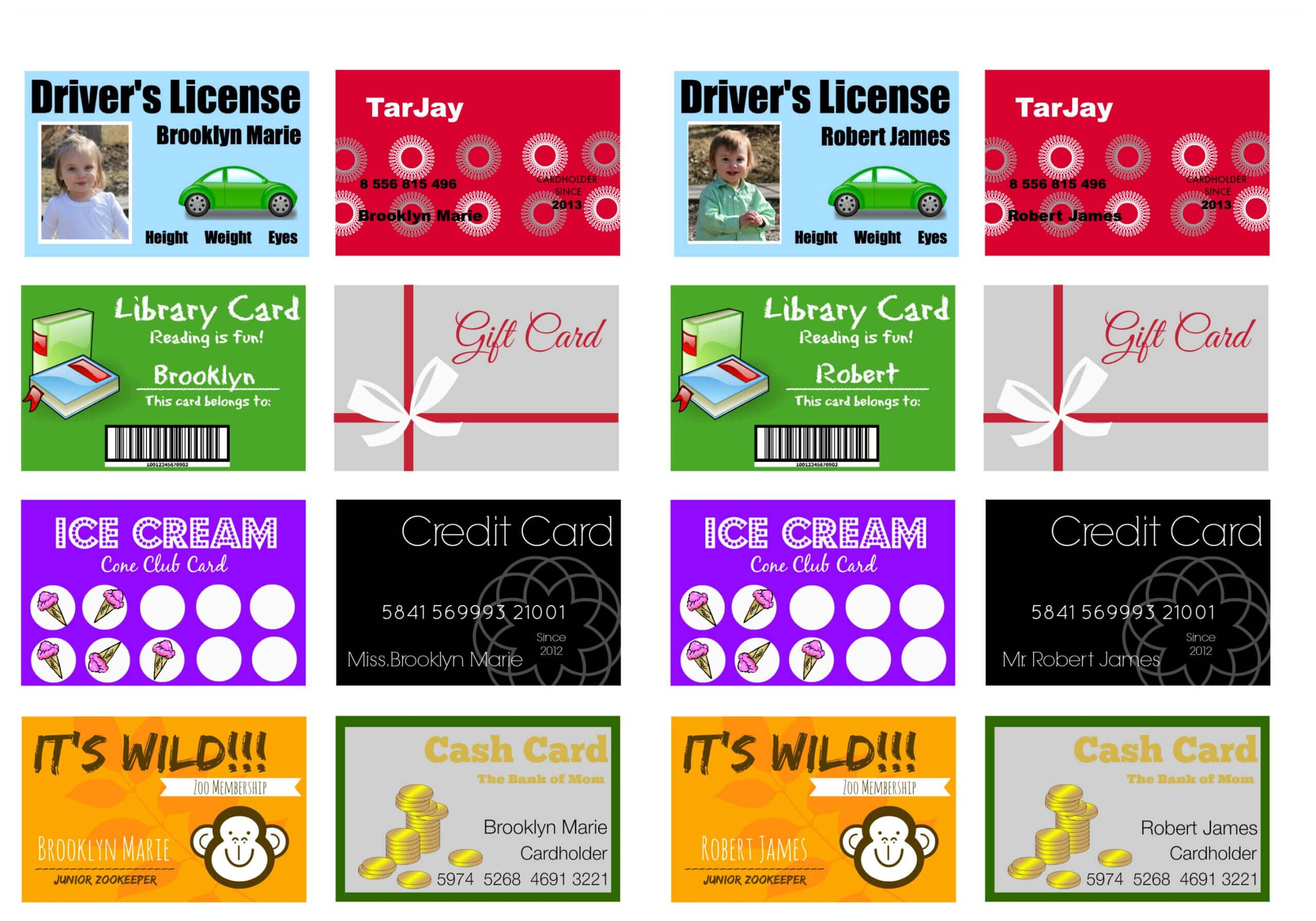 Printable (And Customizable) Play Credit Cards - The Crazy In Credit Card Template For Kids