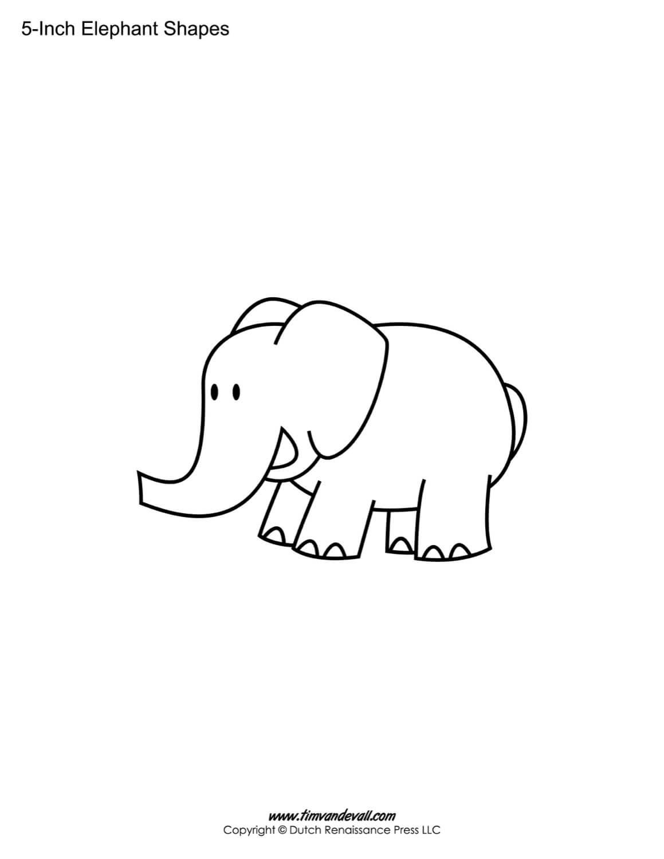 Printable Elephant Templates / Elephant Shapes For Kids Regarding Blank Elephant Template