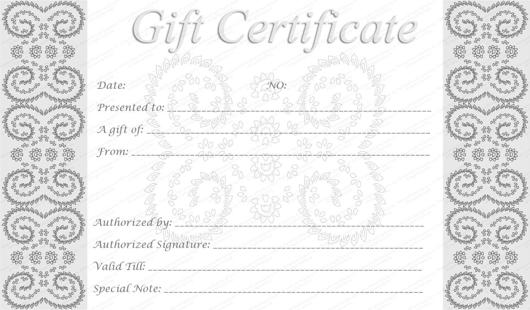 Printable Gift Cards With Black And White Gift Certificate Template Free