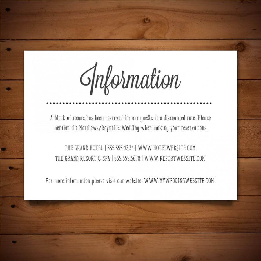 Printable Info Card – Info Card Template – Diy Wedding With Wedding Hotel Information Card Template