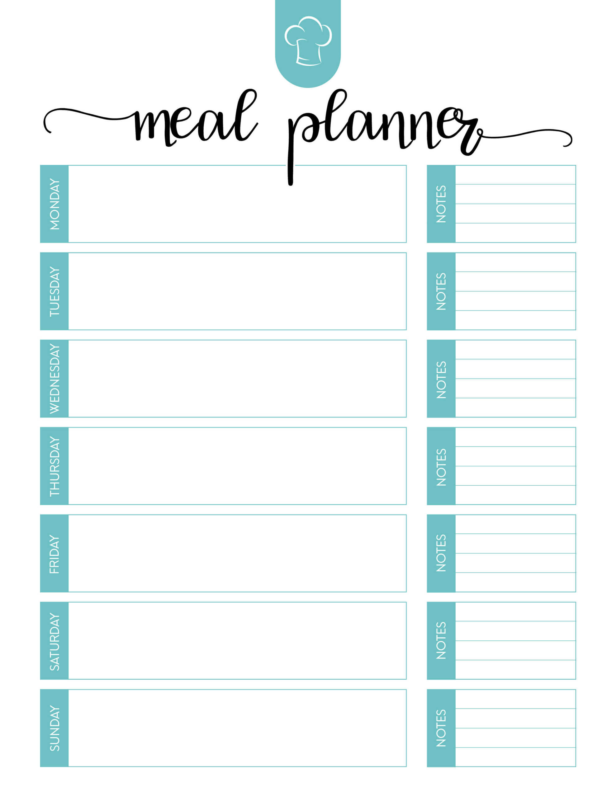 Printable Meal Calendar – Bolan.horizonconsulting.co Pertaining To Blank Meal Plan Template
