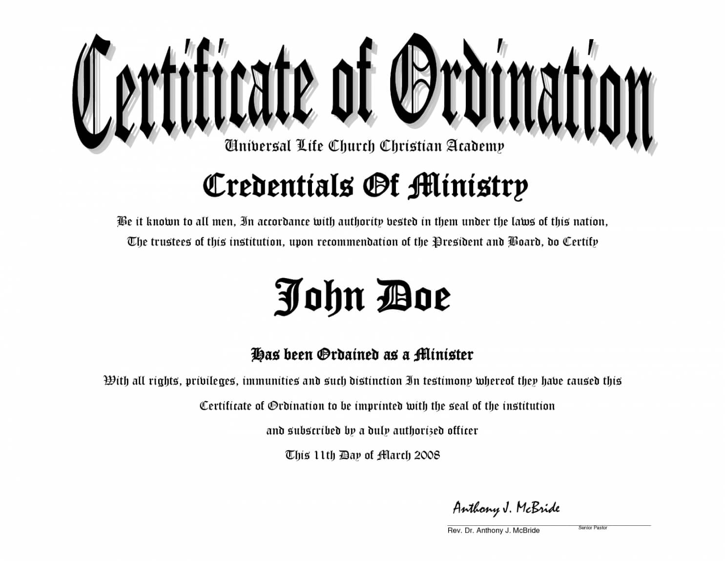 Printable Minister License Certificate Template Clean 10 For Certificate Of License Template