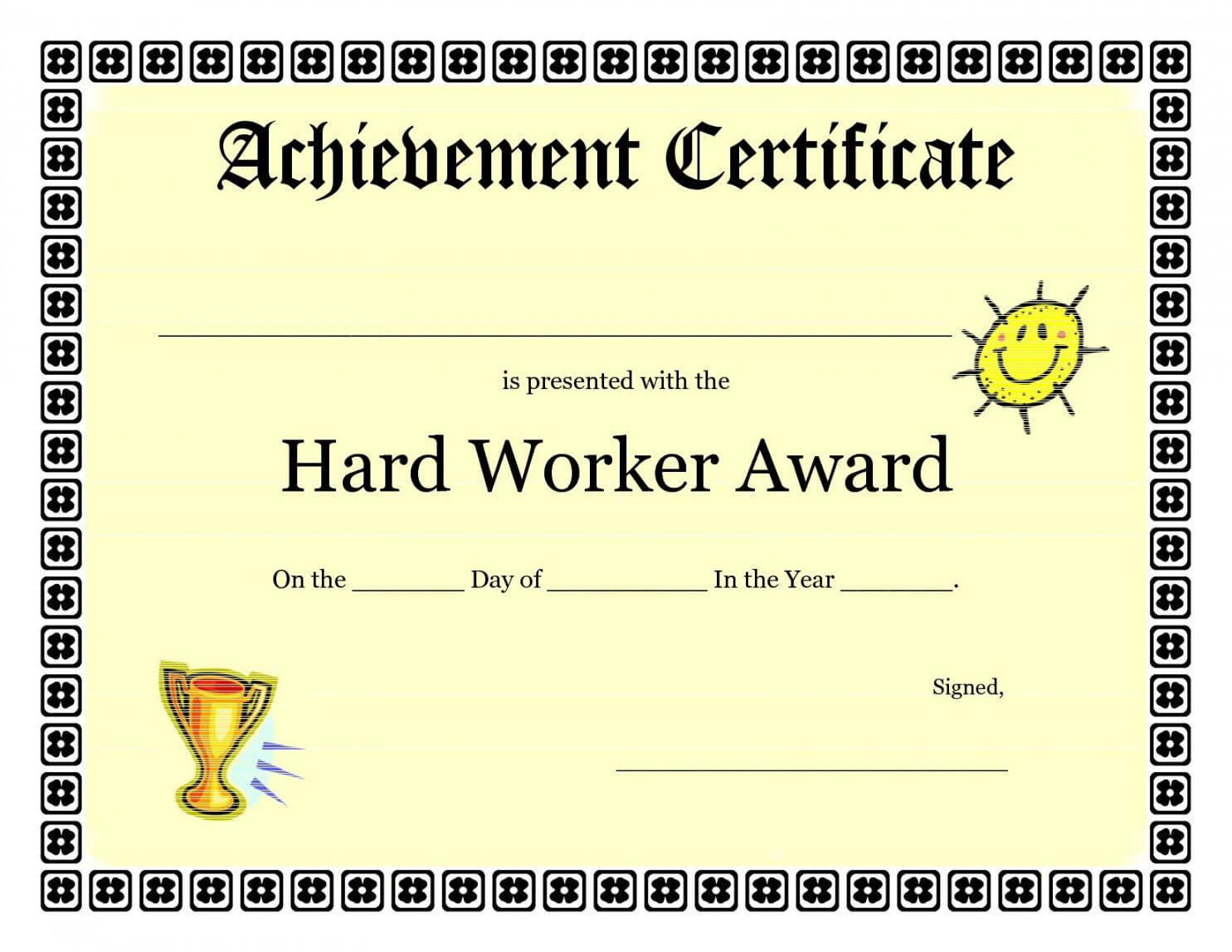 Printable Printable Achievement Certificates Kids Hard In Certificate Of Achievement Template For Kids