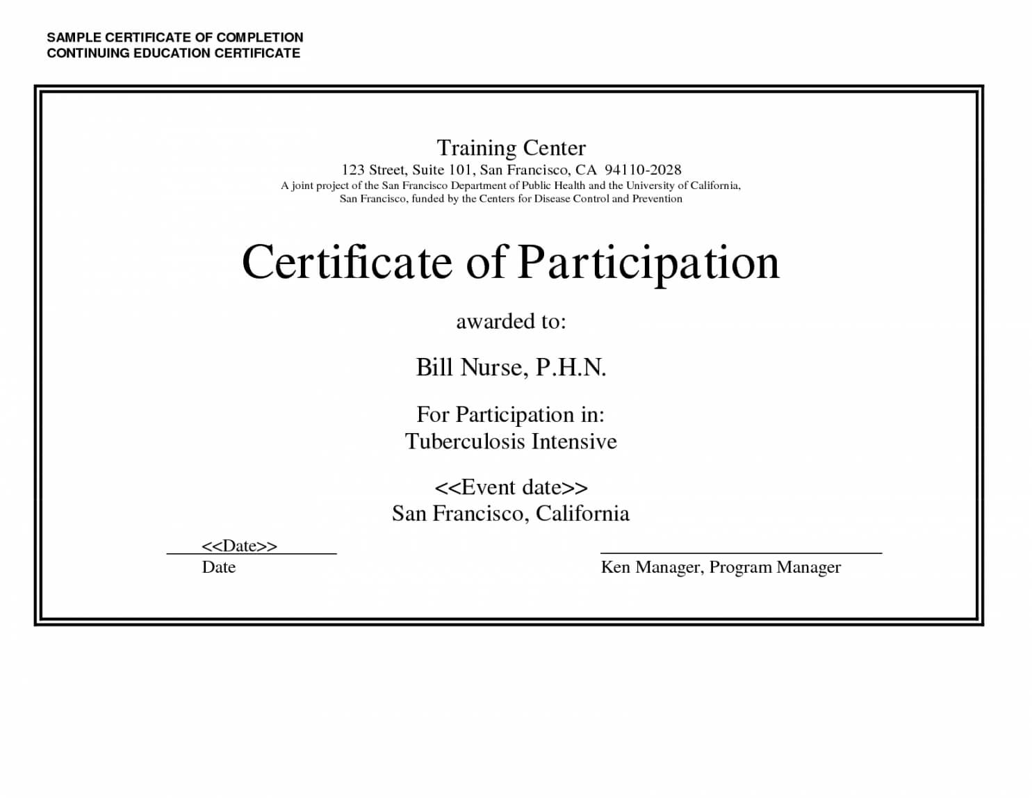 Printable Sample Certificate Of Completion Continuing With Continuing Education Certificate Template