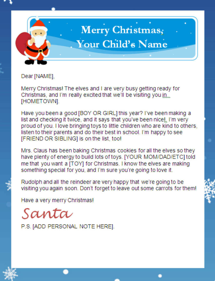 Printable Santa Letters | Pertaining To Santa Letter Template Word