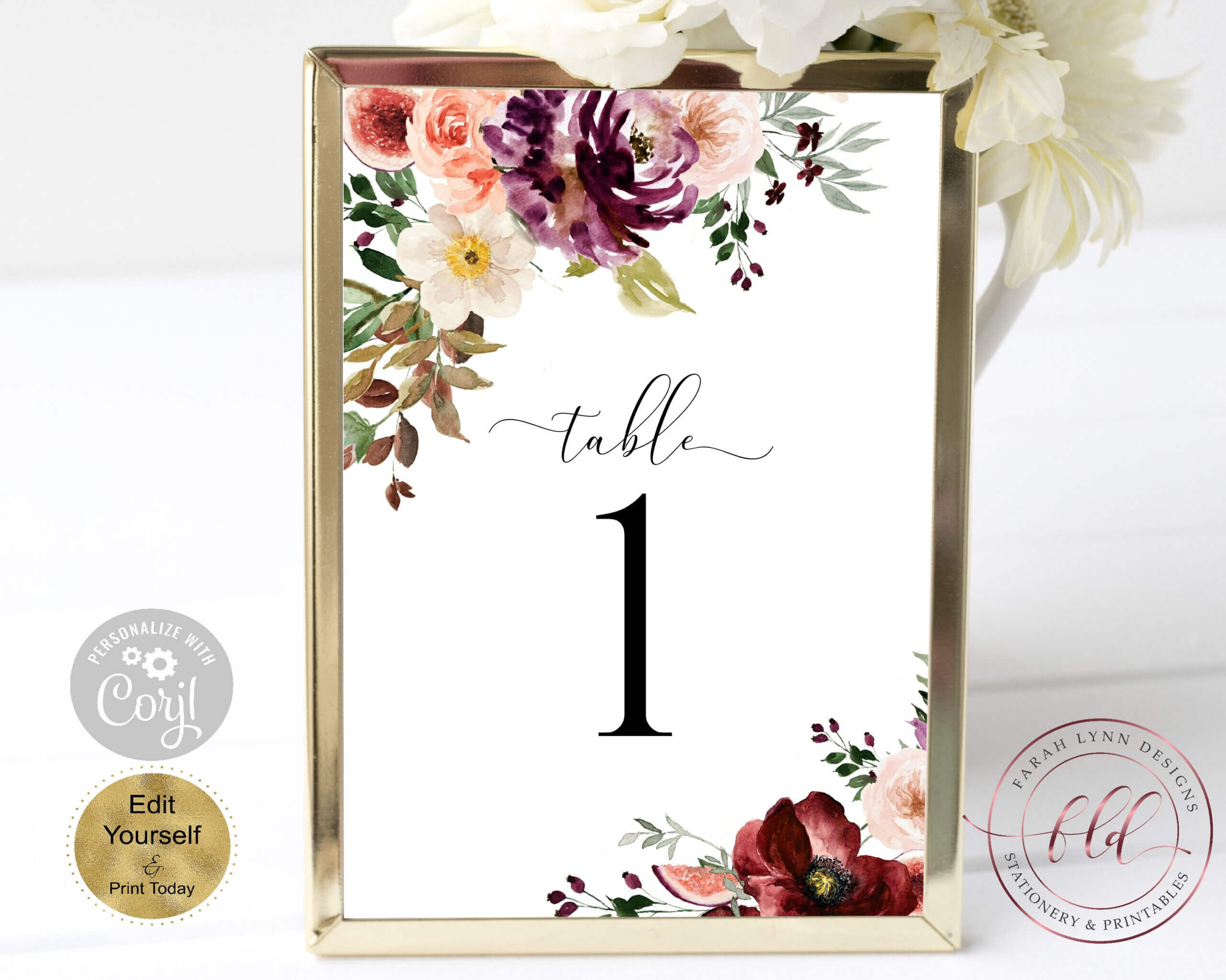 Printable Table Number Cards, Fall Florals, Boho Floral In Table Number Cards Template