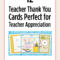 Printable Teacher Thank You Cards For Teacher Appreciation With Regard To Thank You Card For Teacher Template