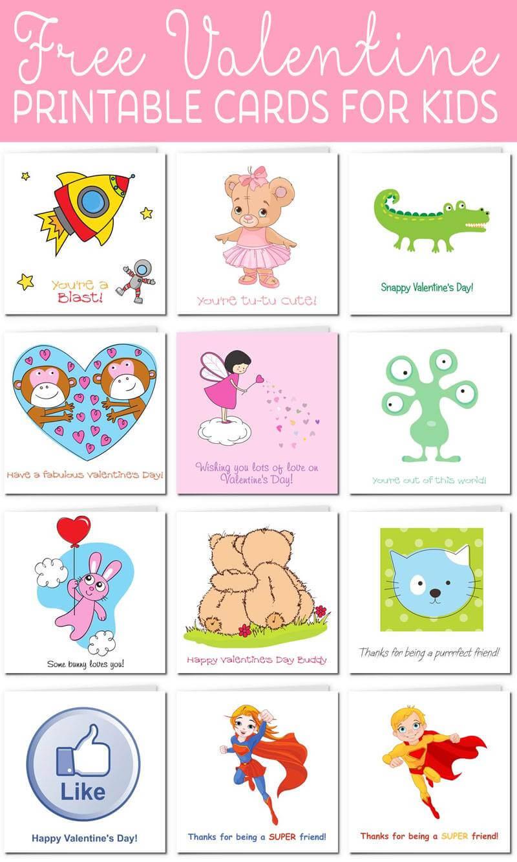 Printable Valentine Cards For Kids For Valentine Card Template For Kids