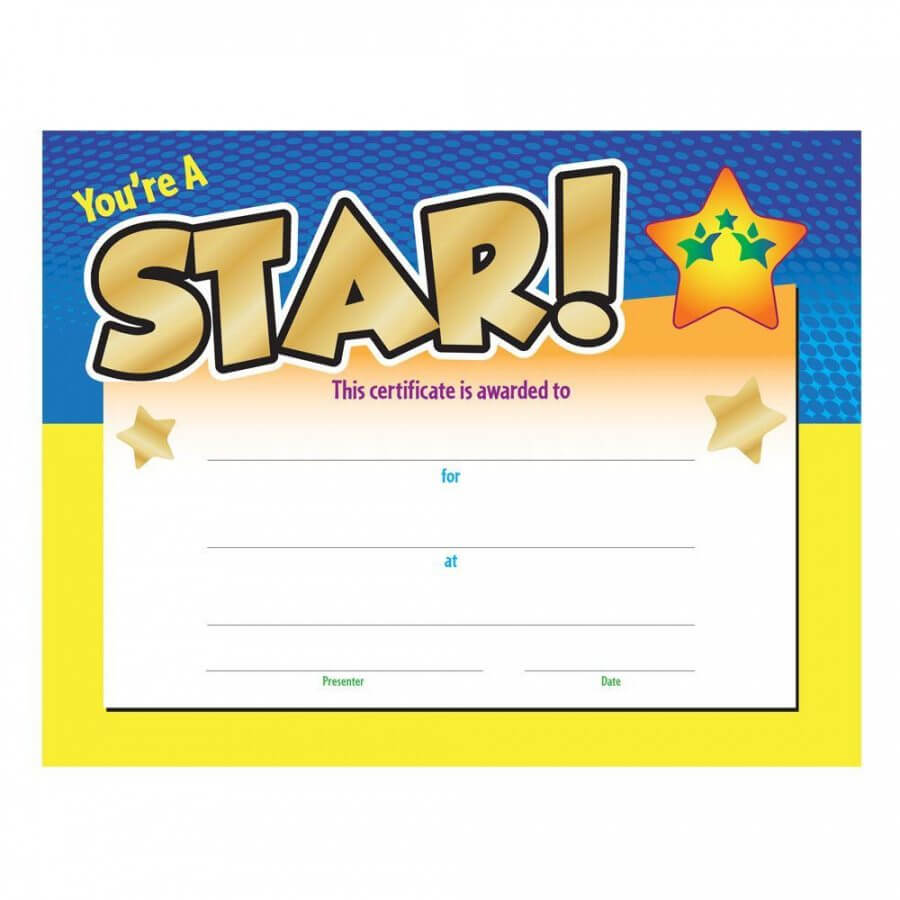 Printable You're A Star! Award Gold Foilstamped Certificate For Star Award Certificate Template