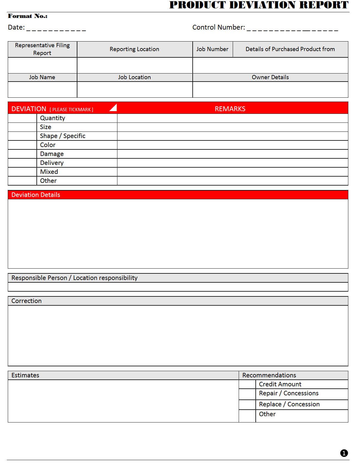Product Deviation Report - Intended For Deviation Report Template