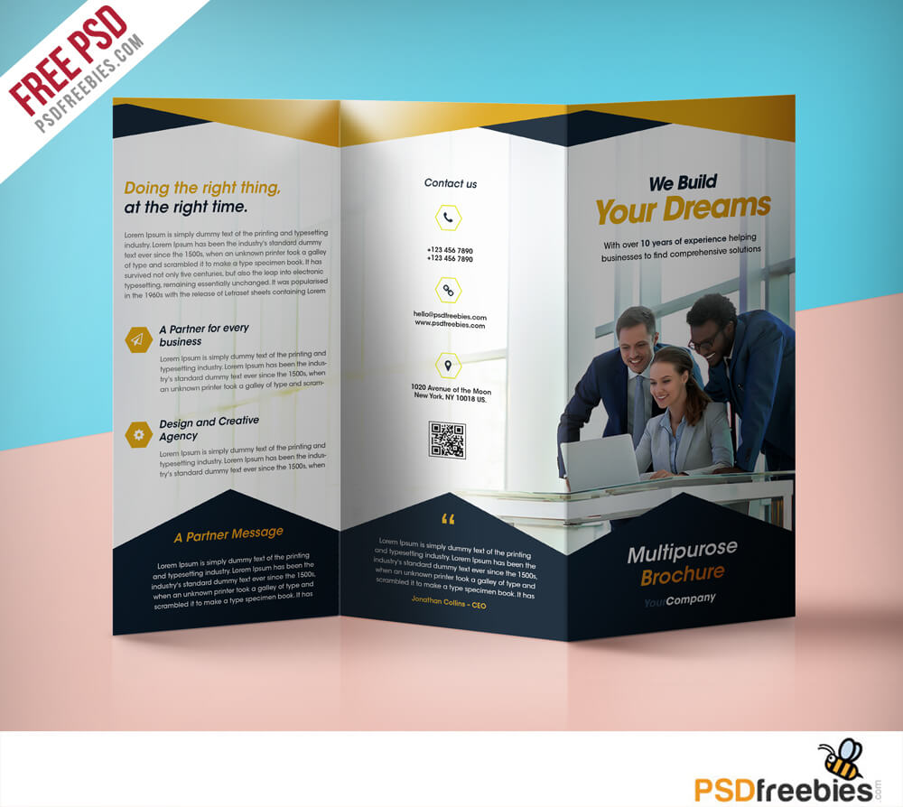Professional Corporate Tri Fold Brochure Free Psd Template With Regard To 3 Fold Brochure Template Free