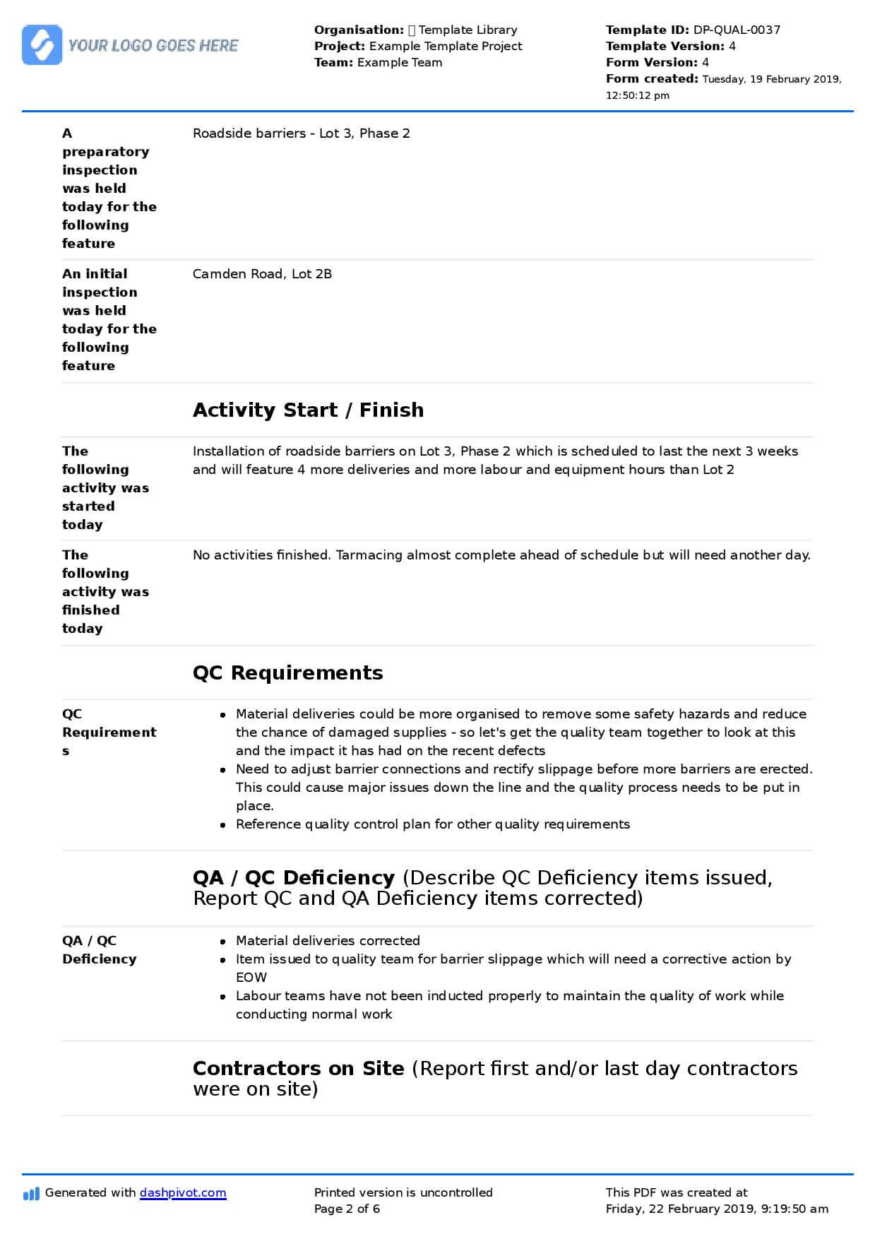 Qa Qc Report Template And Sample With Customisable Format Pertaining To Software Quality Assurance Report Template