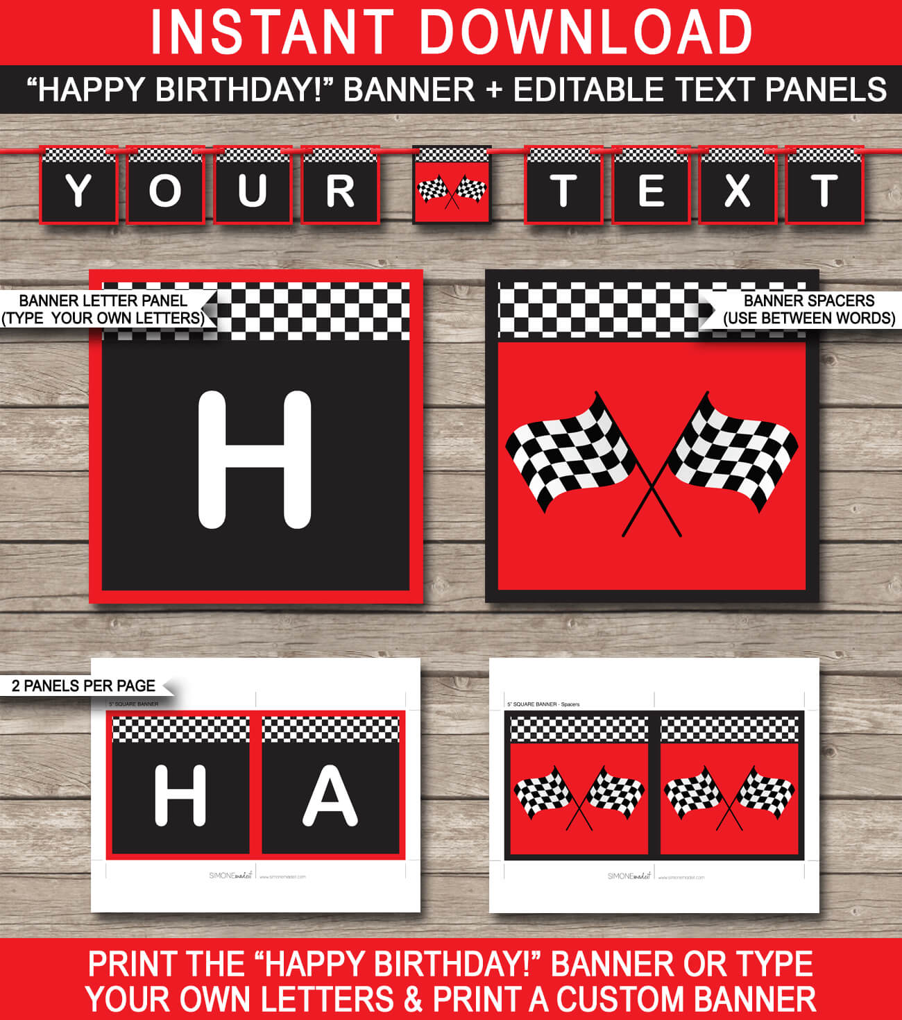 Race Car Party Banner Template – Red Regarding Cars Birthday Banner Template