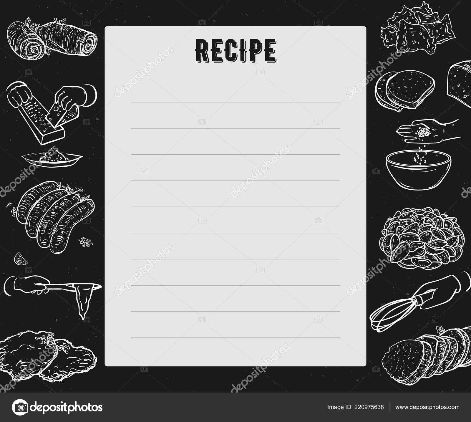 Recipe Card Cookbook Page Design Template Hands Preparing With Regard To Recipe Card Design Template