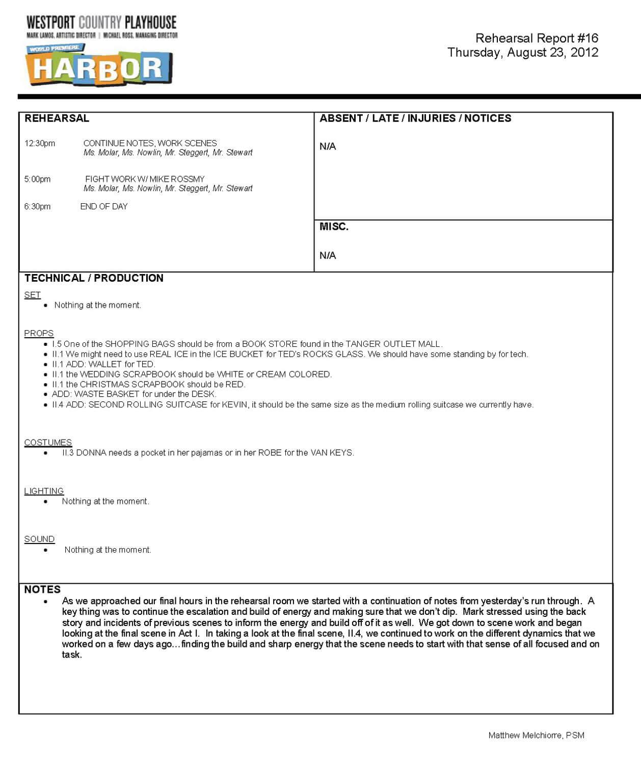 Rehearsal Report Template ] - Drama Report Theatre Templates Pertaining To Rehearsal Report Template