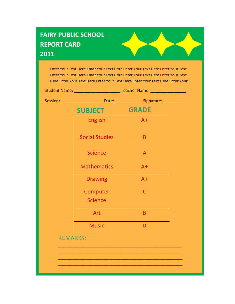 Report Card Template Regarding Report Card Format Template