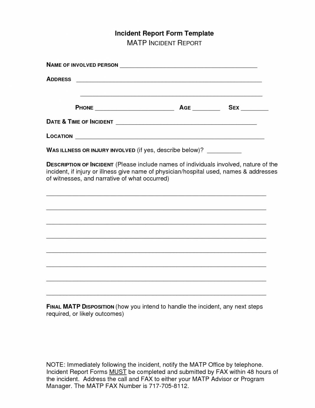 Report Examples School Accident Incident Form Injury Bus With Regard To Accident Report Form Template Uk