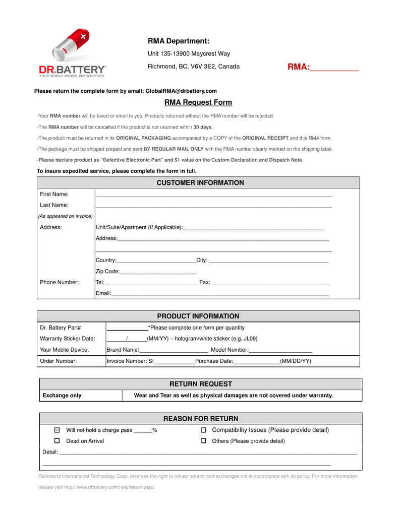 Rma Department: Rma:       Rma Request Form With Regard To Rma Report Template