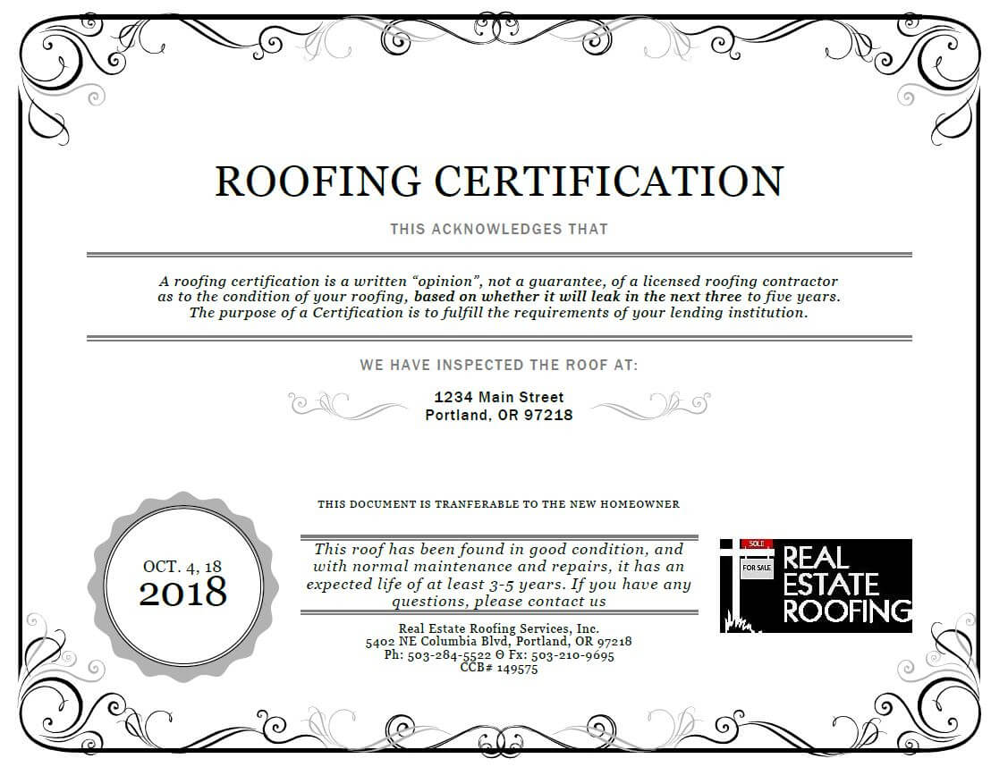 Roof Certification: Sample | Real Estate Roofing Inside Roof Certification Template
