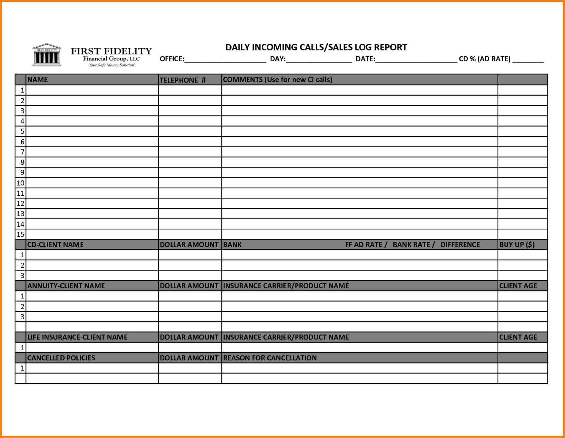 Sales Call Report Template Excel - Sample Templates - Sample Regarding Sales Call Reports Templates Free