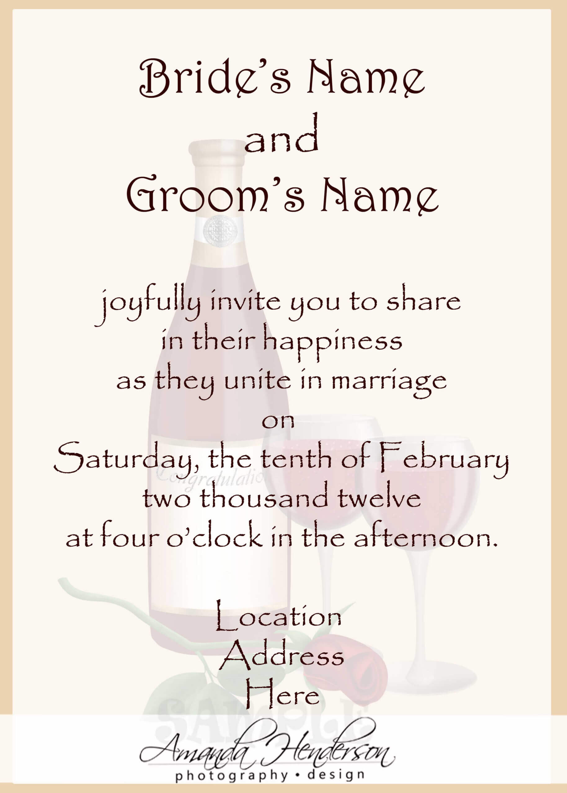 Sample Wedding Invitation Card : Sample Wedding Invitation Intended For Sample Wedding Invitation Cards Templates