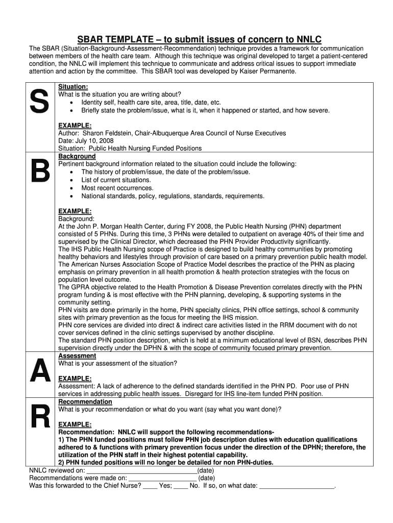 Sbar Template - Fill Online, Printable, Fillable, Blank Regarding Sbar Template Word