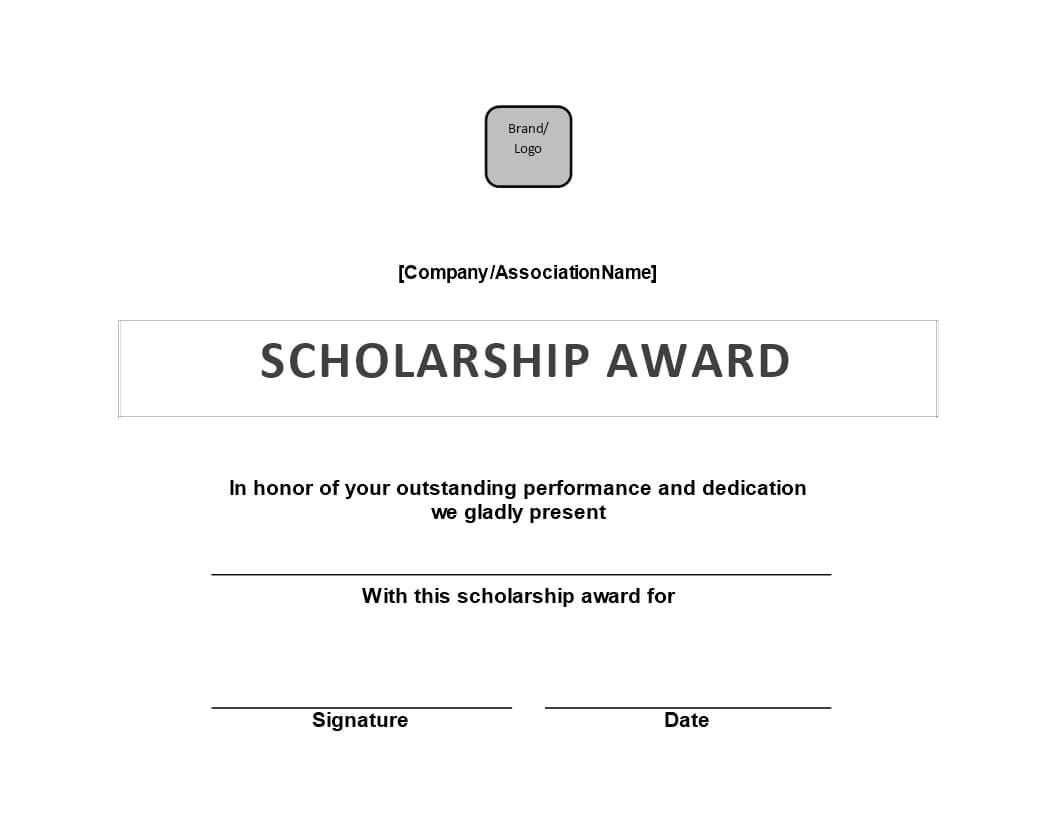 Scholarship Award Certificate | Templates At With Scholarship Certificate Template Word