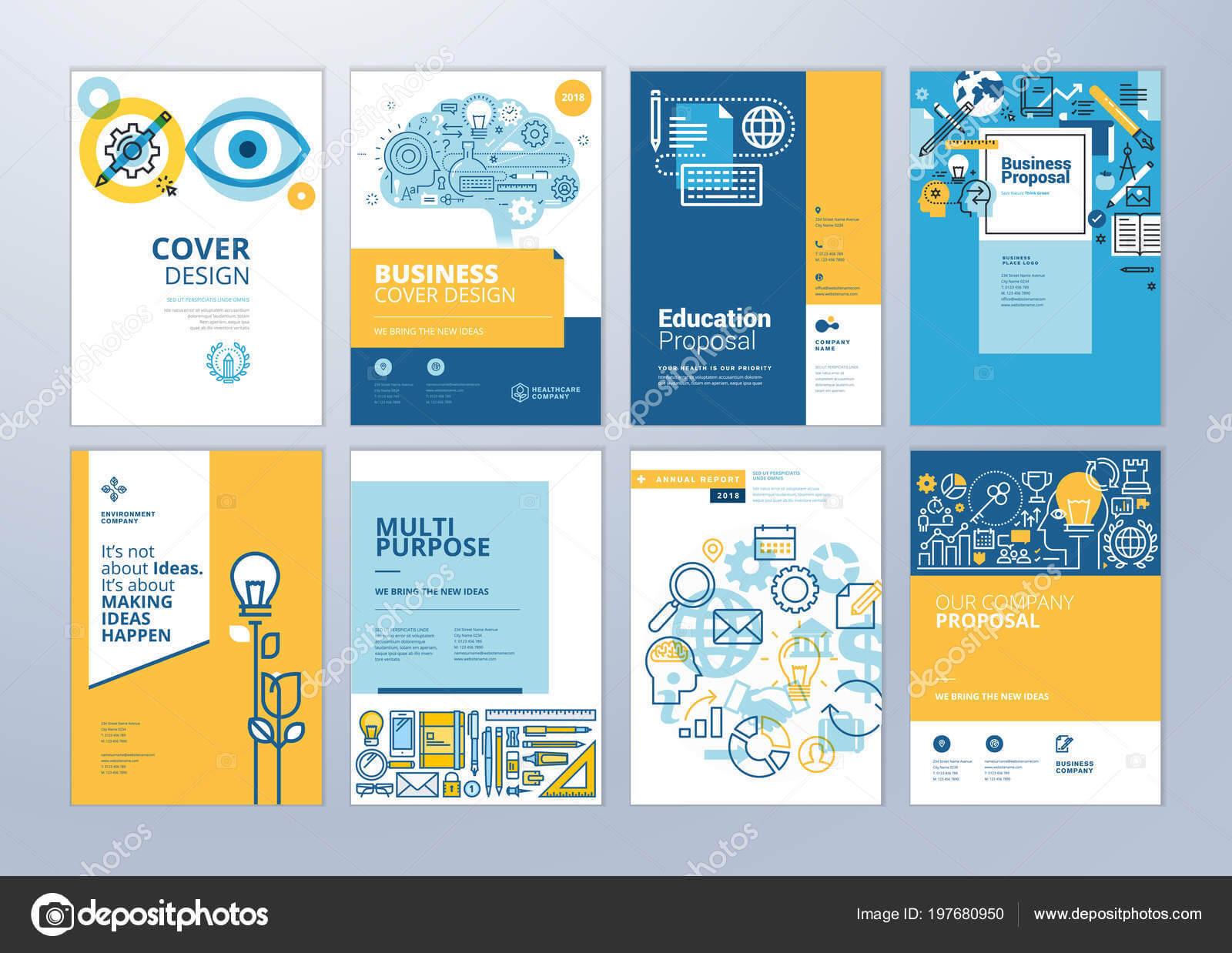 School Brochure Designs | Set Brochure Design Templates Intended For School Brochure Design Templates