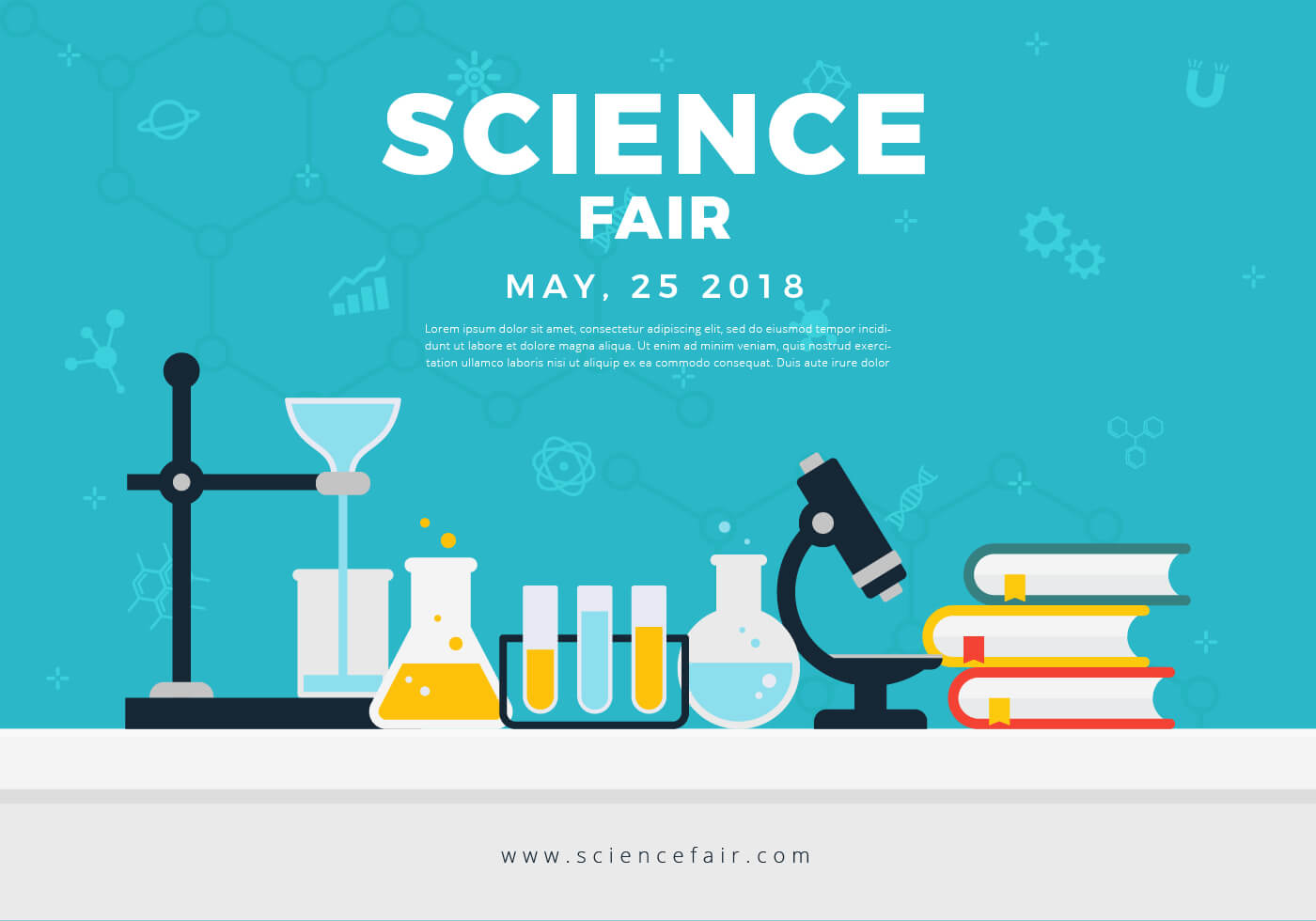 Science Fair Poster Banner - Download Free Vectors, Clipart Within Science Fair Banner Template