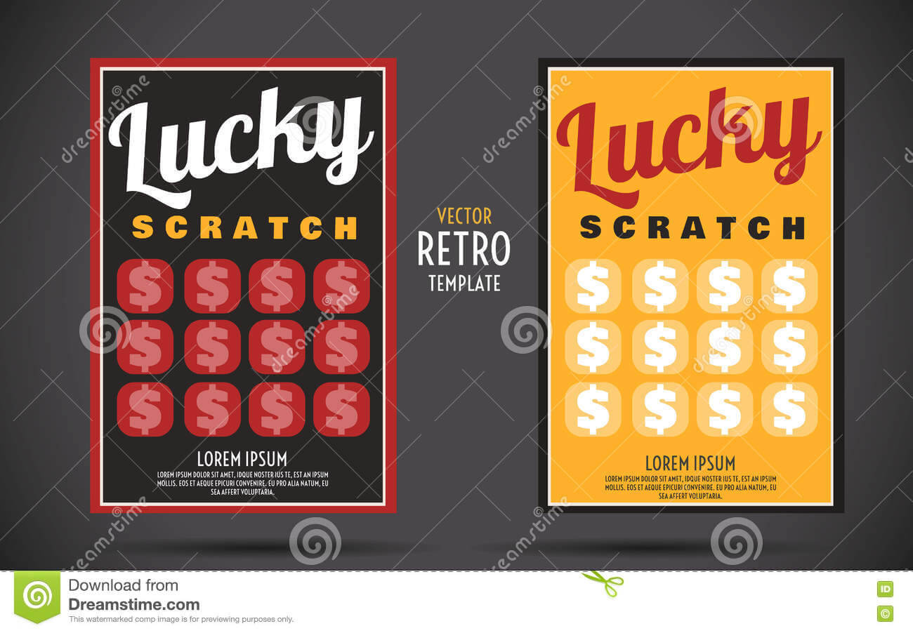 Scratch Off Lottery Ticket Vector Design Template Stock With Regard To Scratch Off Card Templates