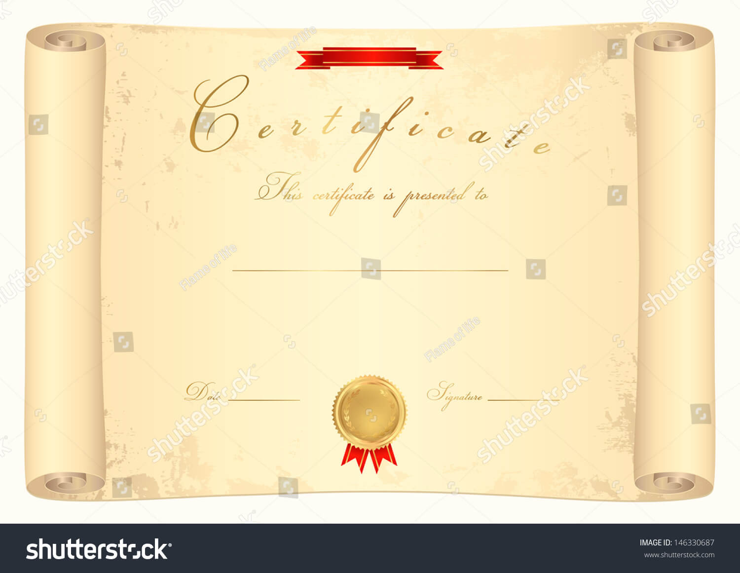 Scroll Certificate Completion Template Sample Background Inside Certificate Scroll Template
