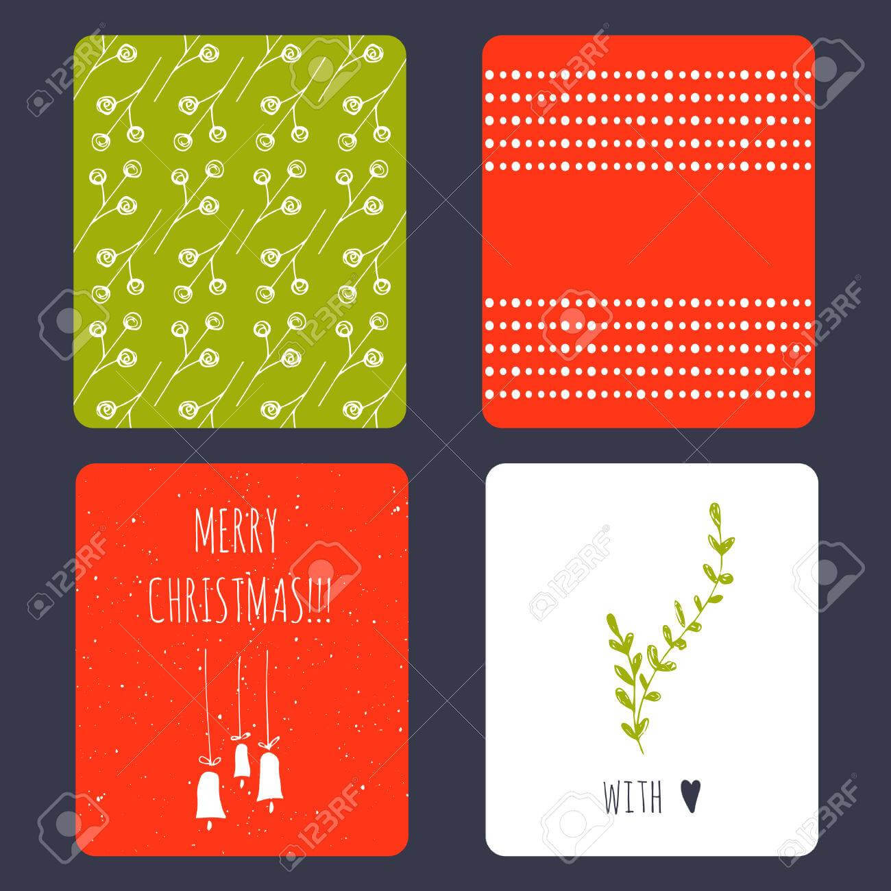 Set Of Winter Small Card Templates. Collection For Christmas.. Pertaining To Small Greeting Card Template