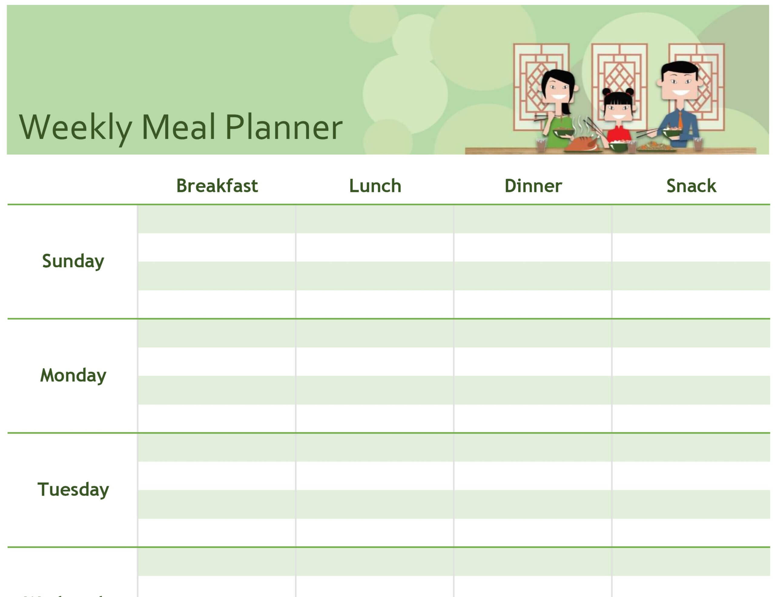 Simple Meal Planner In Meal Plan Template Word