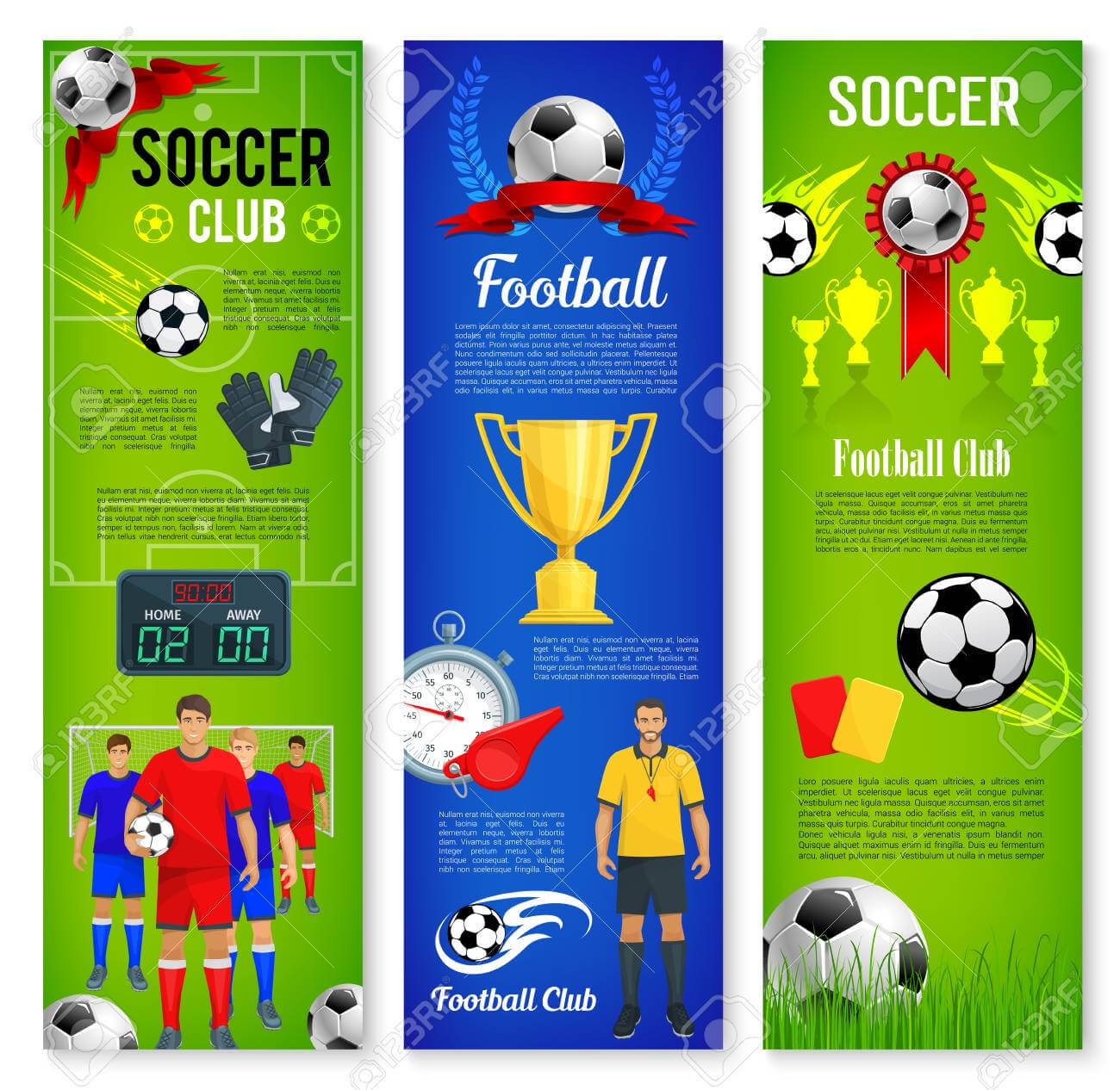 Soccer Or Football Sport Game Banner Template Set Throughout Sports Banner Templates