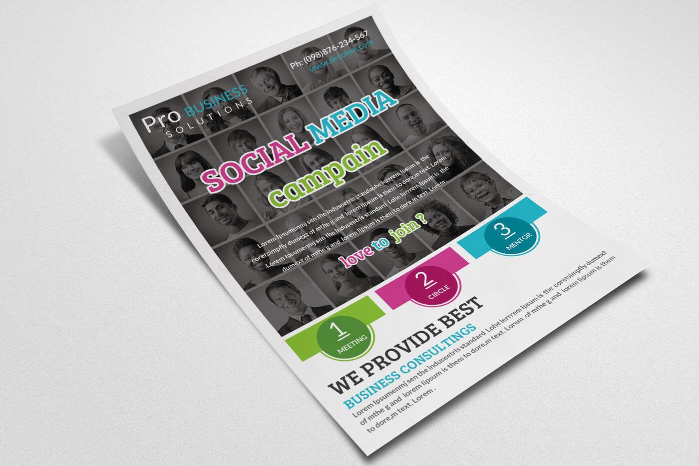 Social Media Flyer Templatedesignhub | Thehungryjpeg In Social Media Brochure Template