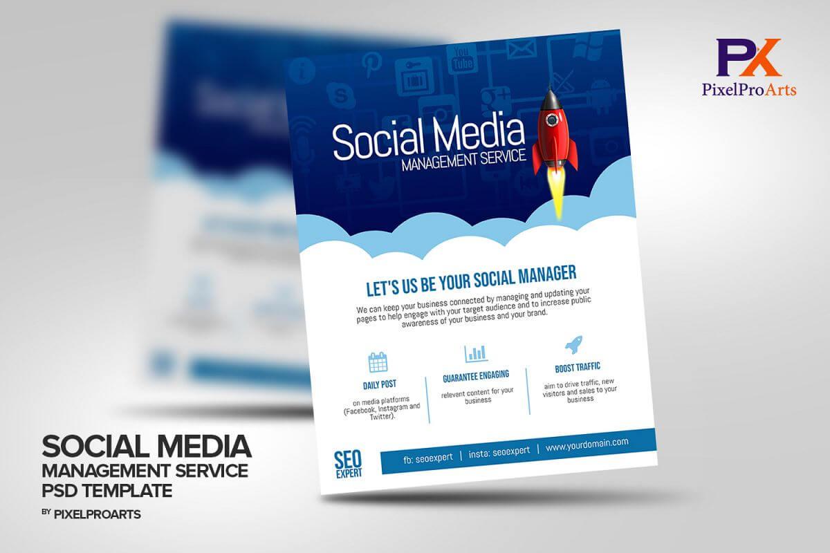 Social Media Management Service Flyer Template Throughout Social Media Brochure Template