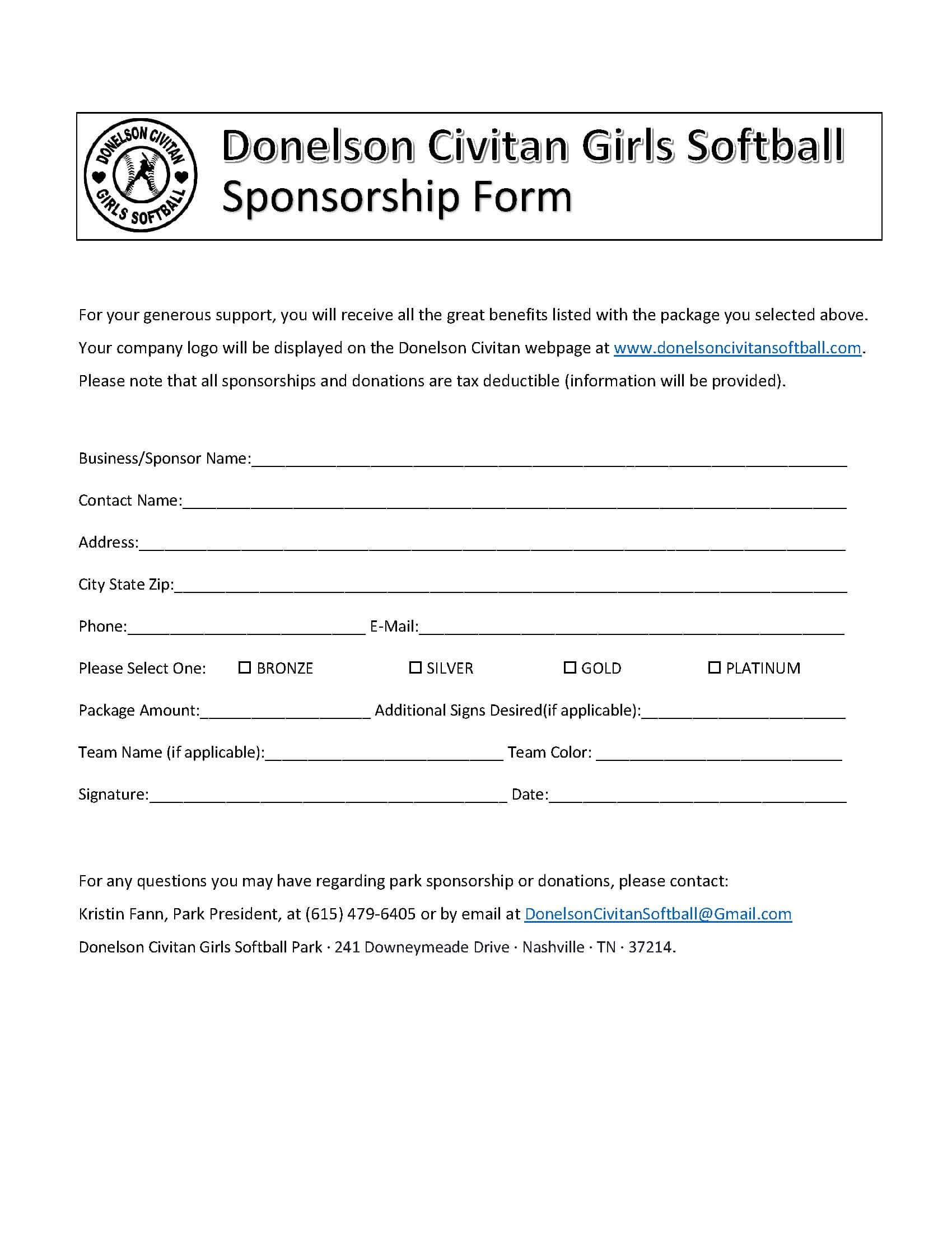 Sponsor Forms Templates Free ] - Template Sponsorship Form With Regard To Blank Sponsor Form Template Free