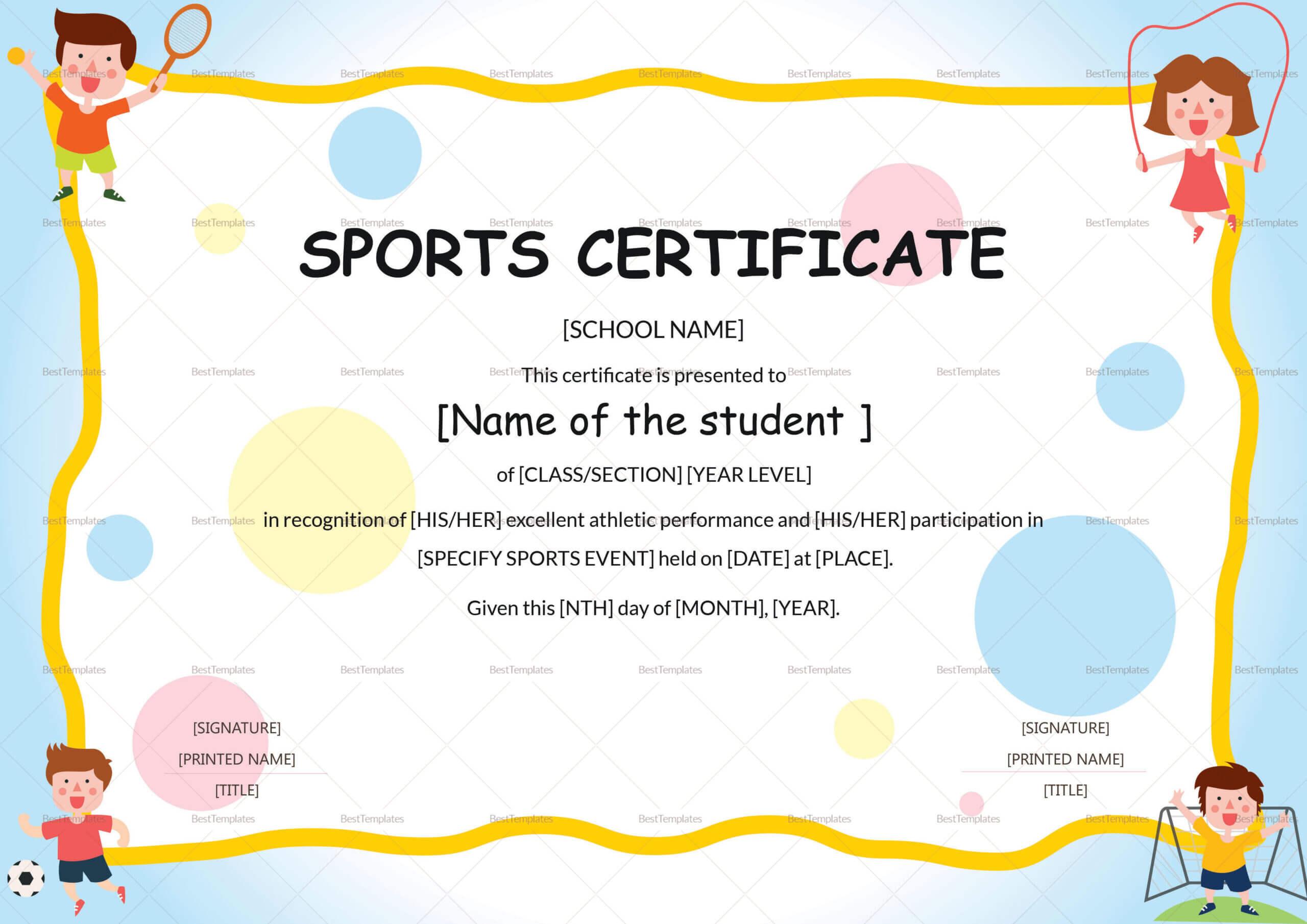 Sports Day Certificate Template - Yatay.horizonconsulting.co With Sports Day Certificate Templates Free