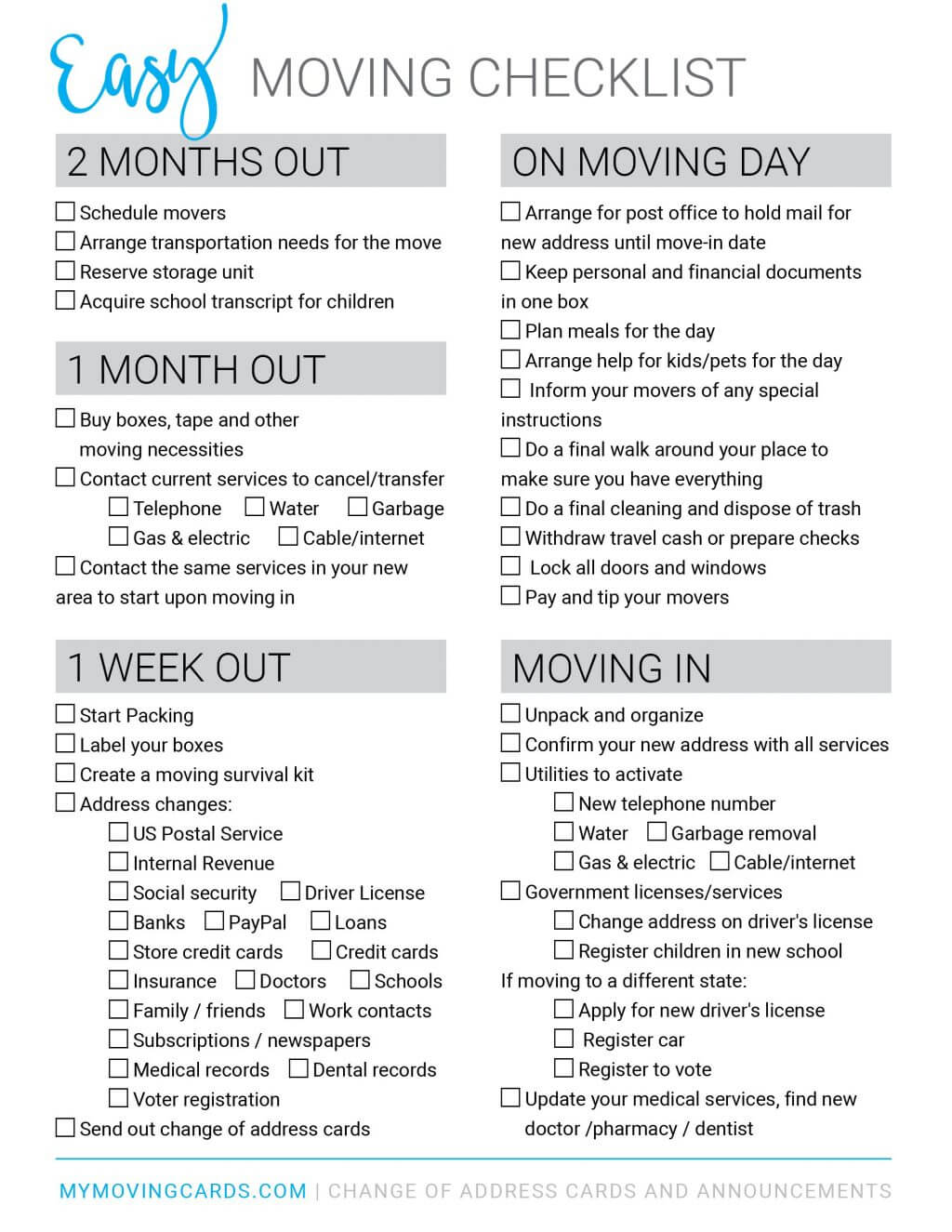 Spreadsheet Moving House Checklist Free Printable Download With Moving House Cards Template Free