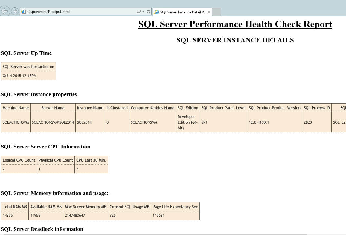 Sql Server Health Check Using Powershell And T Sql For Sql Server Health Check Report Template
