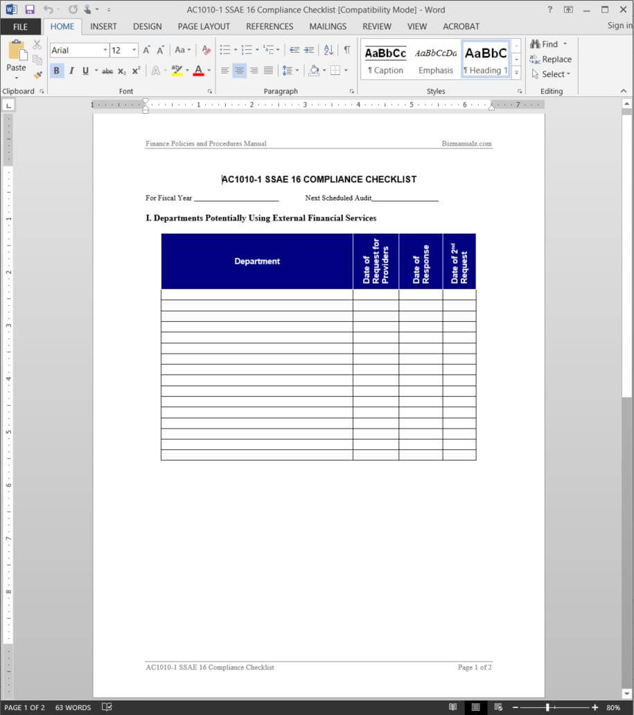 Ssae 16 Compliance Checklist Template | Ac1010 1 Throughout Ssae 16 Report Template