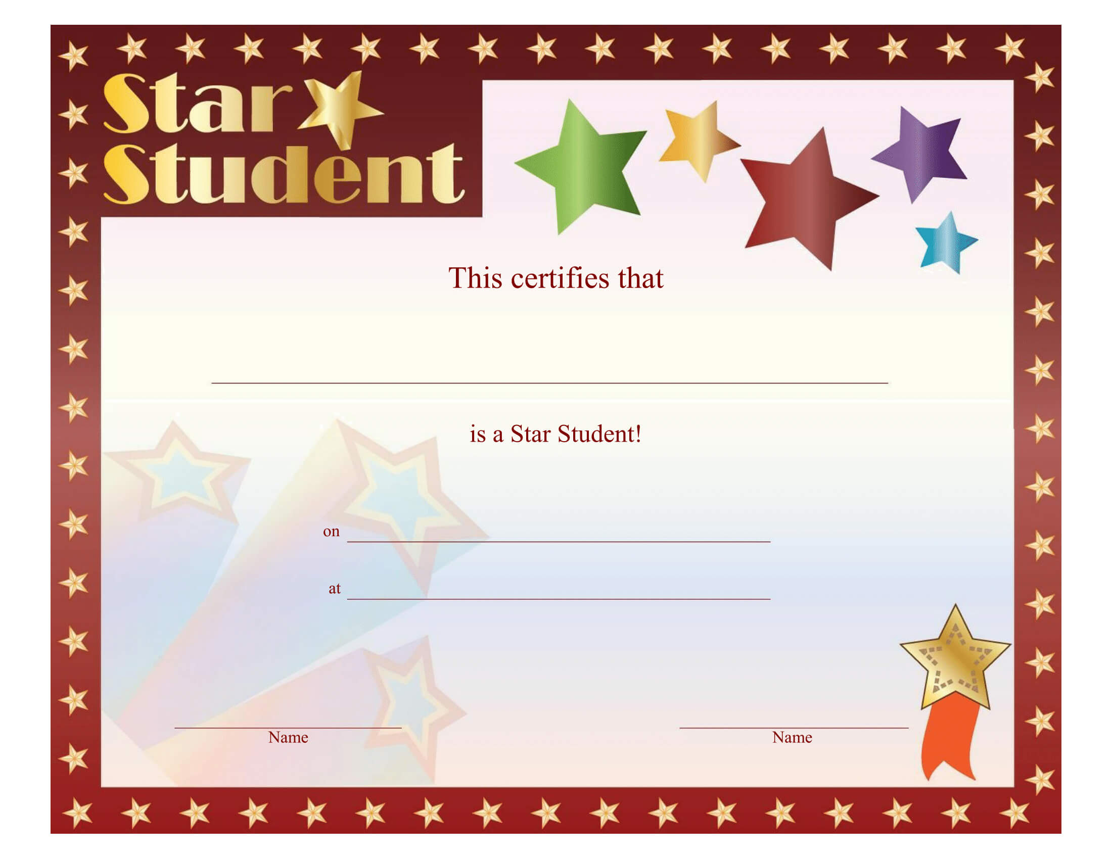 Star Student Certificate – Free Printable Download Within Star Certificate Templates Free