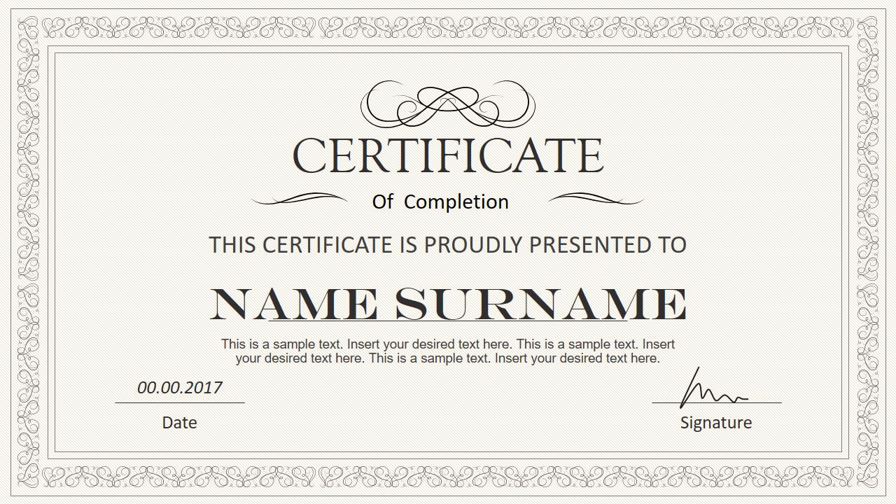 Stylish Certificate Powerpoint Templates Inside Powerpoint Award Certificate Template