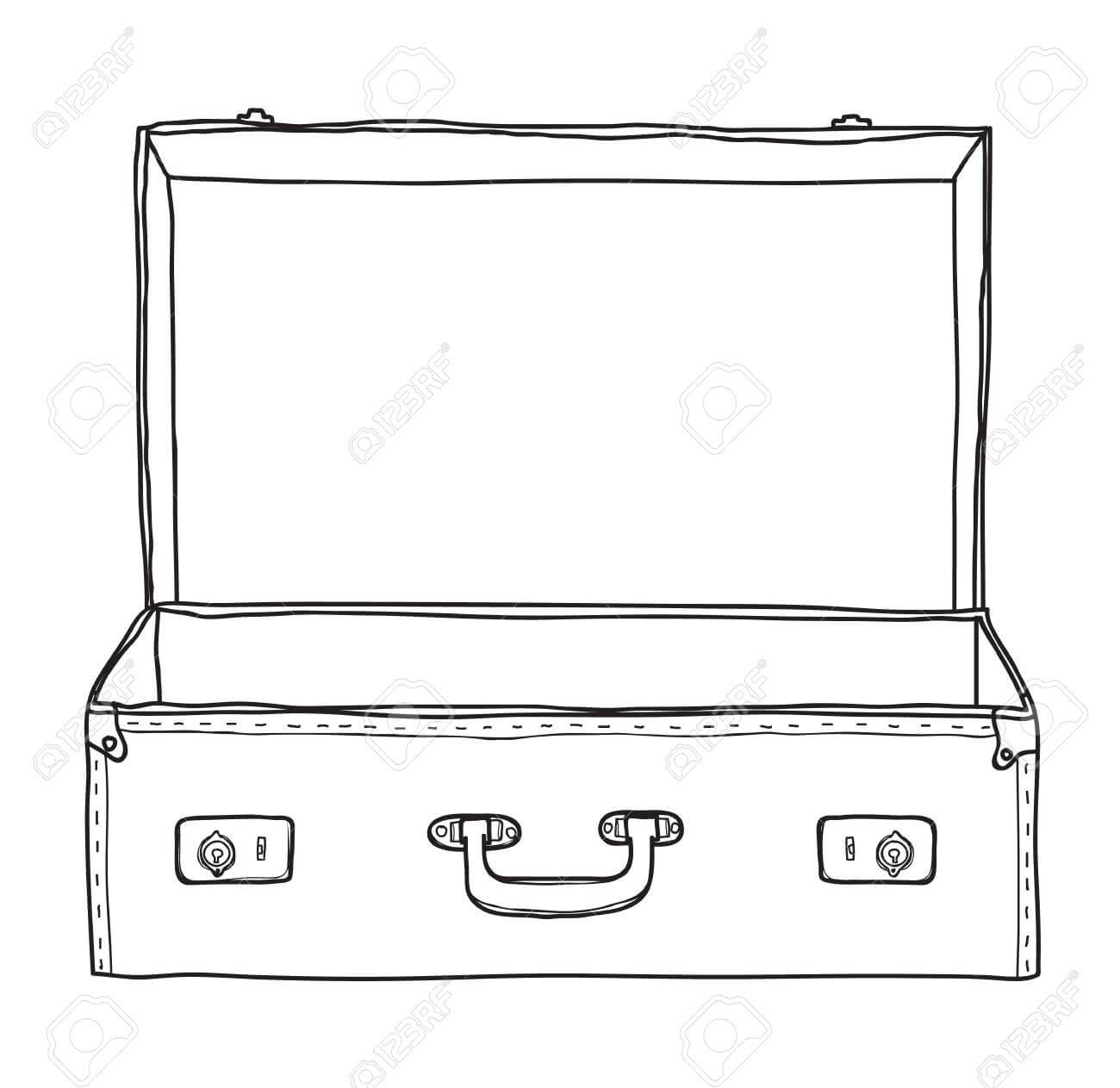 Suitcase Vintage Empty Suitcase Hand Drawn Vector Line Art Illustration Intended For Blank Suitcase Template