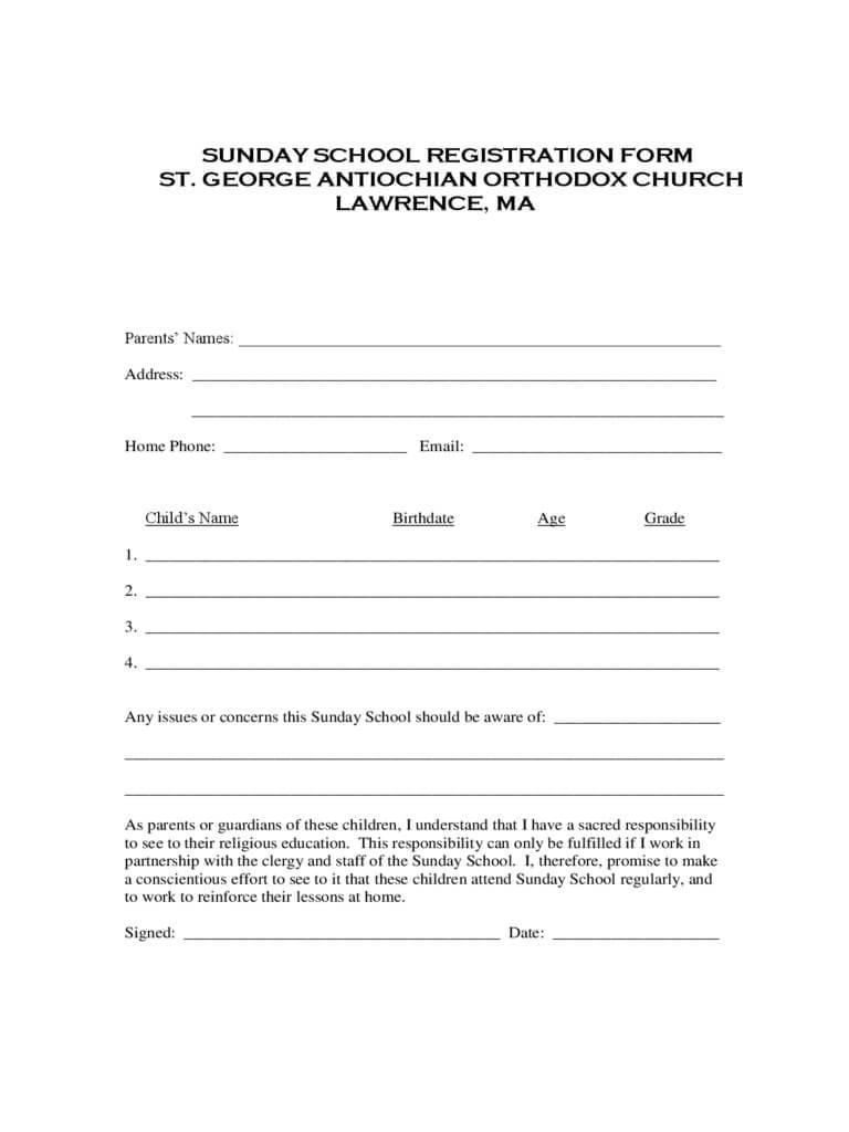 Sunday School Registration Form - 2 Free Templates In Pdf Regarding School Registration Form Template Word