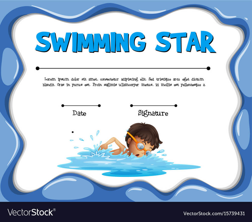 Swimming Star Certification Template With Swimmer Intended For Free Swimming Certificate Templates